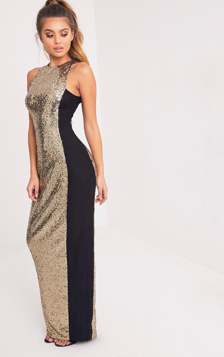 Carsie Gold Sleeveless Sequin Maxi Dress 4