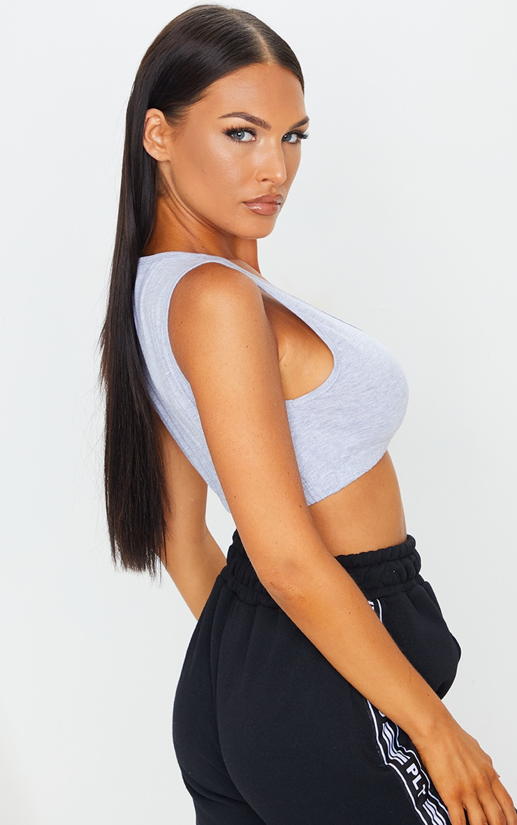 PRETTYLITTLETHING Grey Embroidered Scoop Neck Crop Top 2