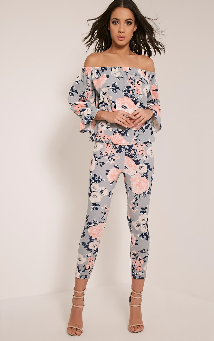 Natillia Dusty Blue Floral Cropped Trousers 1