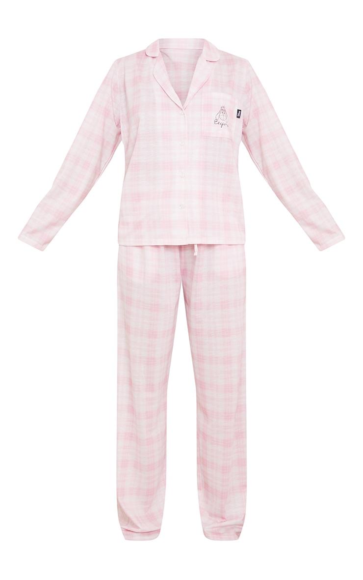 Pink Disney Eeyore Check Long Button Up PJ Set 5