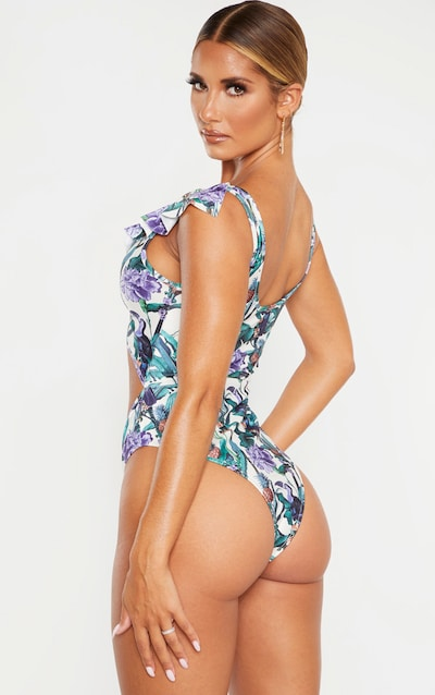 Cream Toucan Tropical Print Bamboo Ring Frill Swimsuit