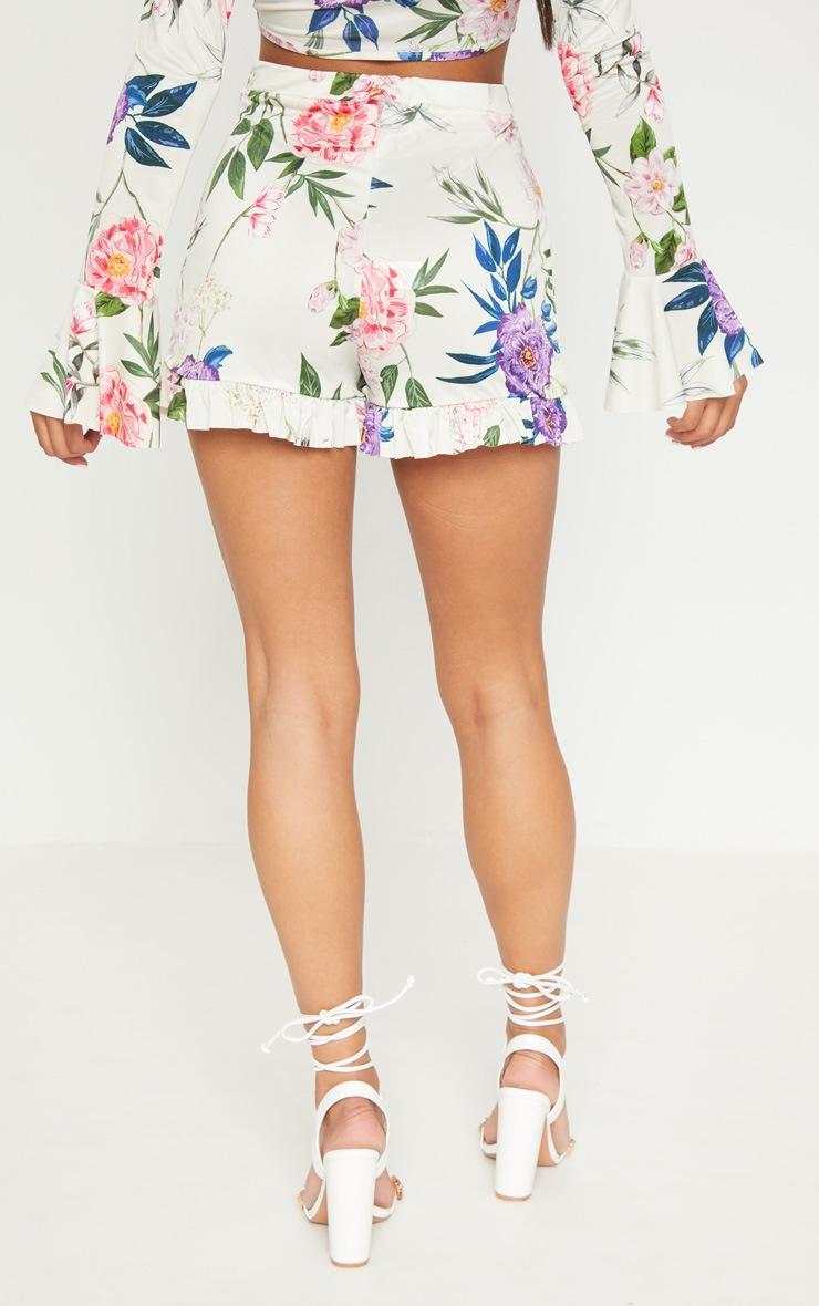 Nude Slinky Floral Frill Hem Shorts  4