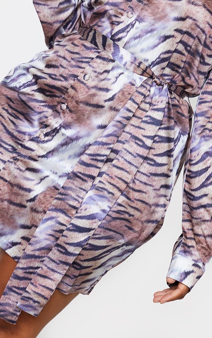 Plus Brown Faded Tiger Printed Tie Waist Shirt Dress 4