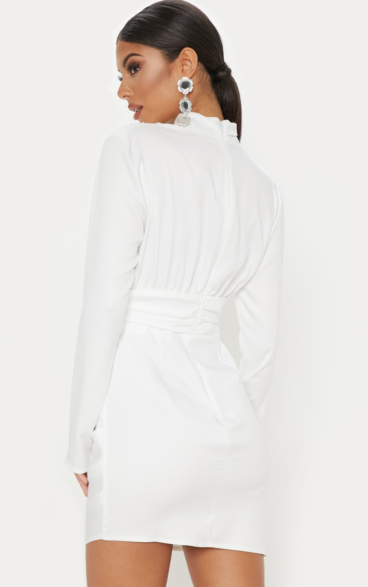 White Satin High Neck Ruched Shift Dress 2