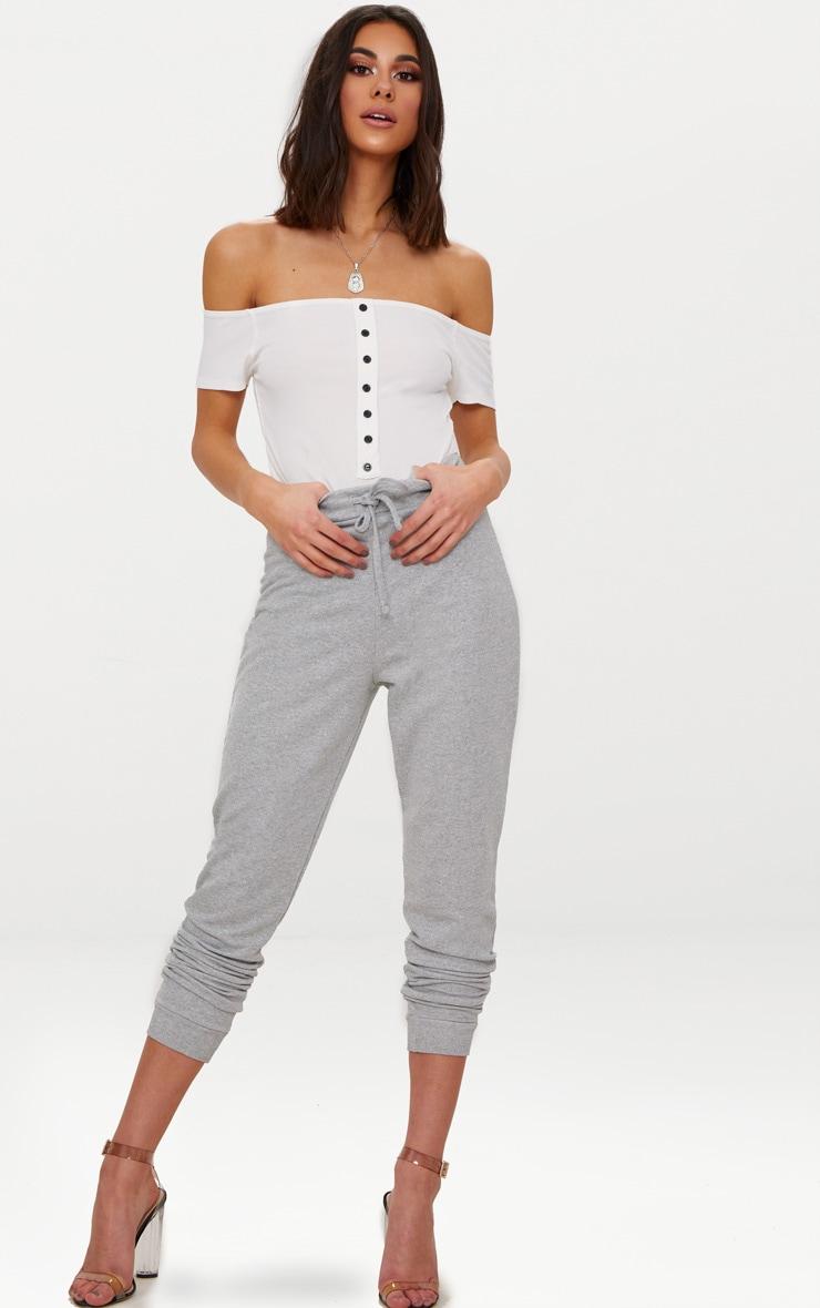 White Rib Button Bardot Thong Bodysuit  4