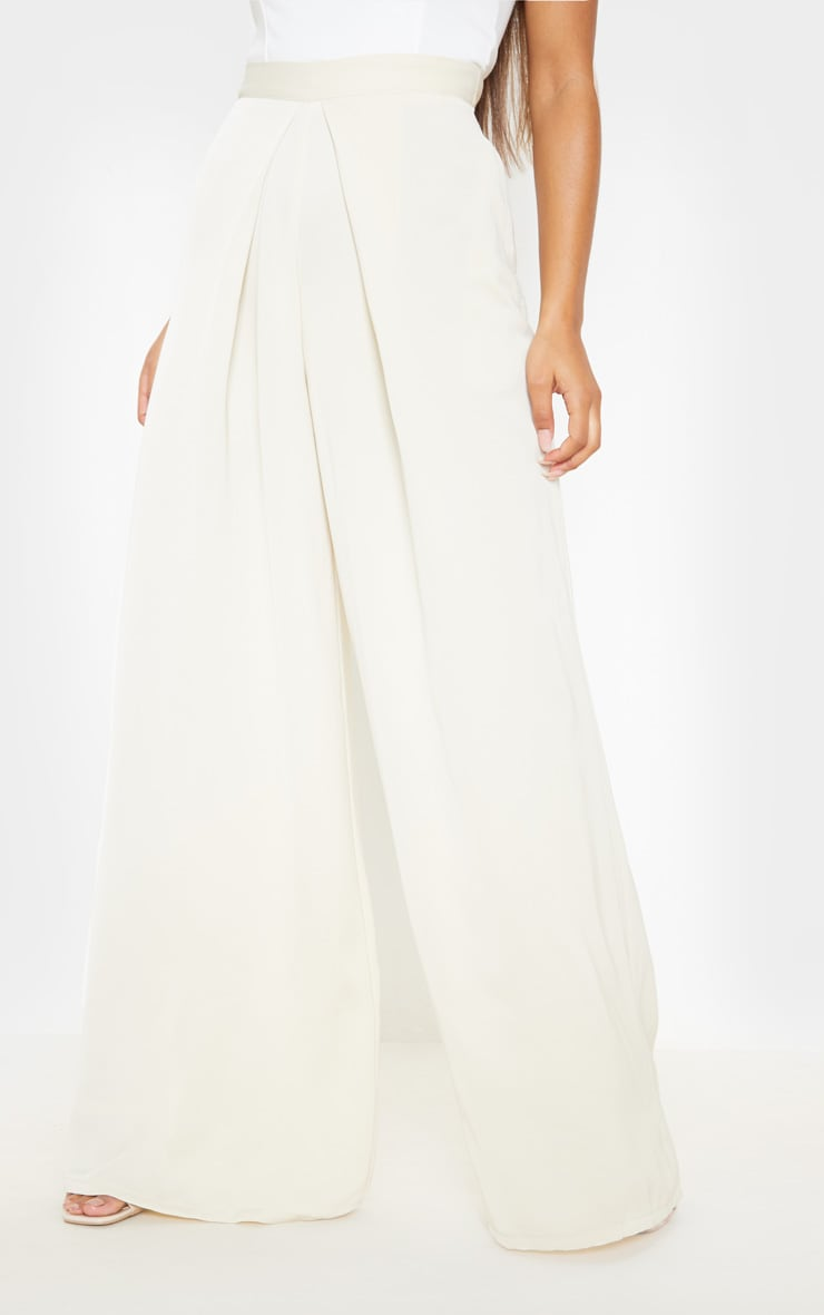 Cream Woven Pleat Detail Wide Leg Pants 2