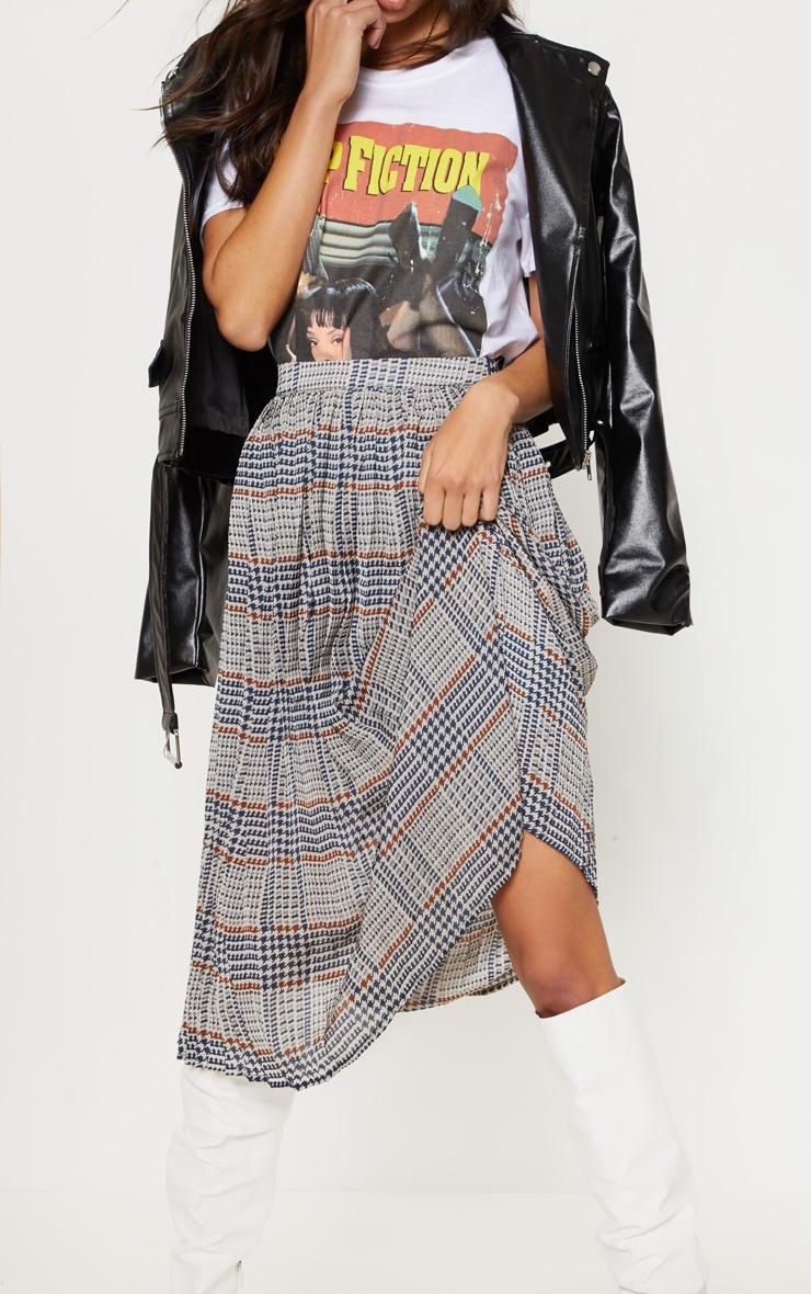 Brown Check Print Pleated Midi Skirt  4
