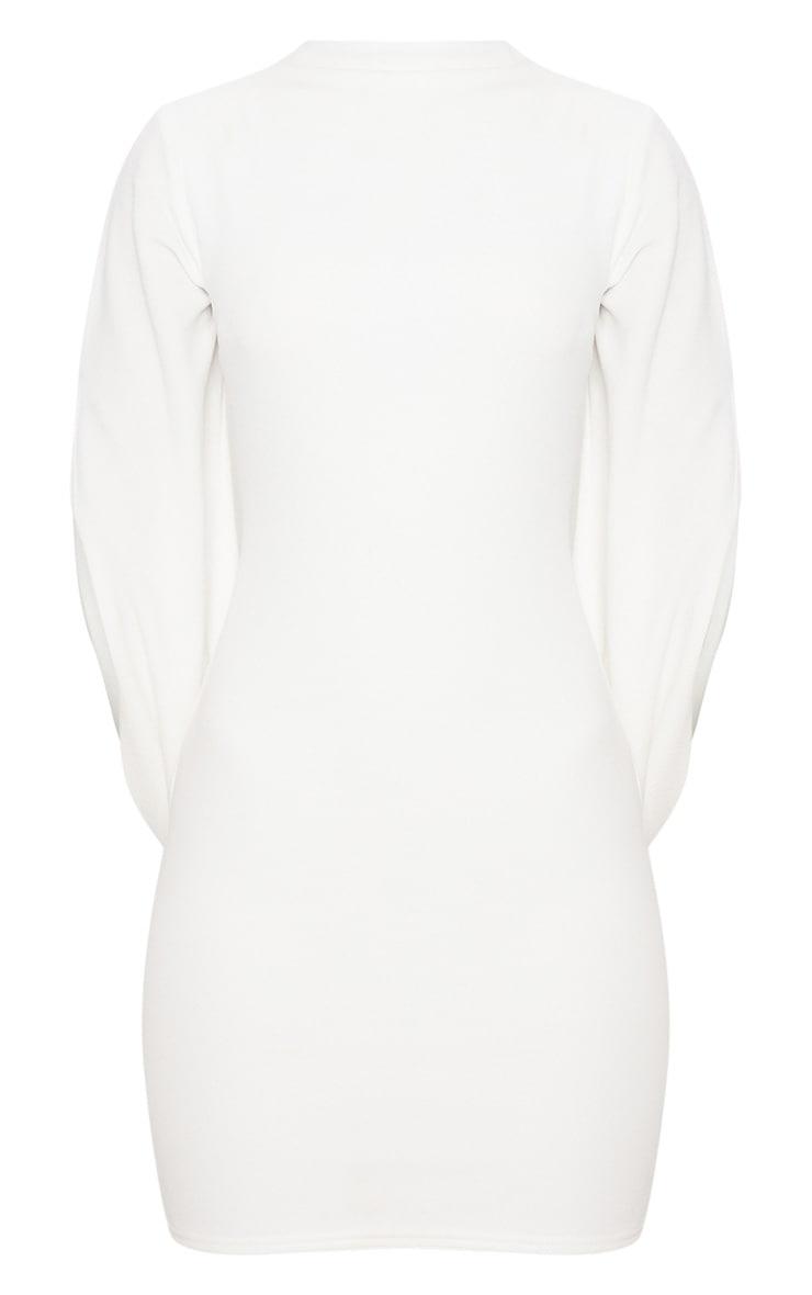 White High Neck Draped Cape Sleeve Bodycon Dress 3