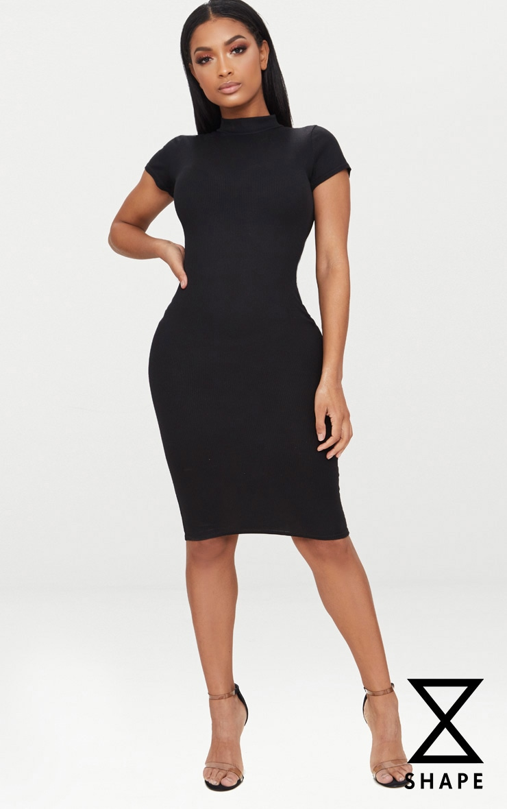 Shape Black Ribbed High Neck Cap Sleeve Midi Dress