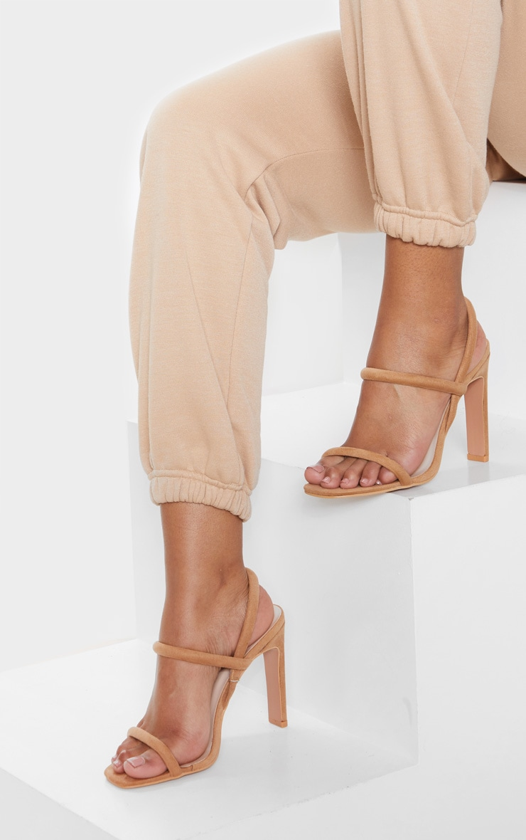 Sand High Heel Tube Strappy Sandal  1