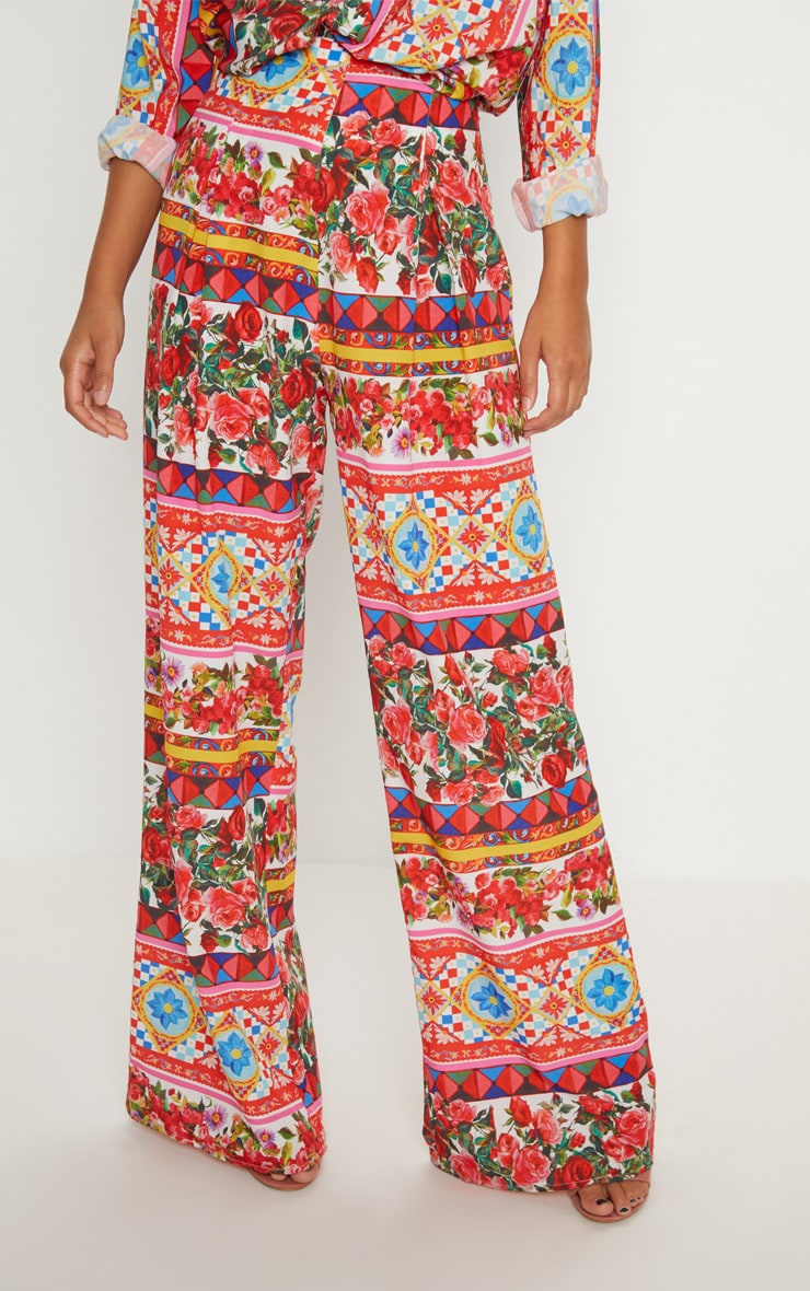 Multi Floral Wide Leg Pants 2