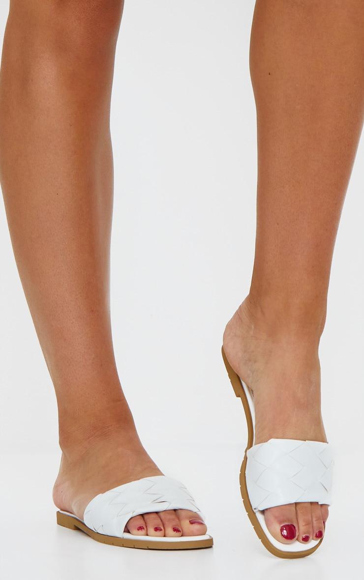 White Basket Weave Flat Mule Sandals