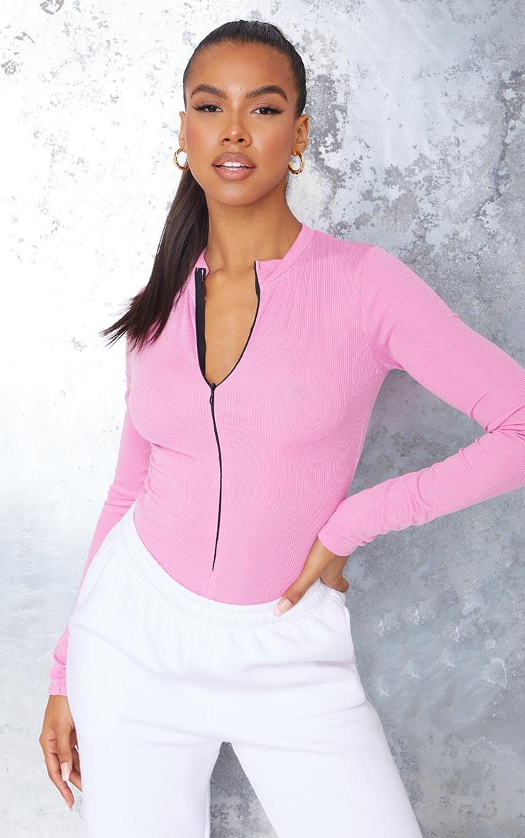 Hot Pink Rib Zip Up Long Sleeve Bodysuit 1