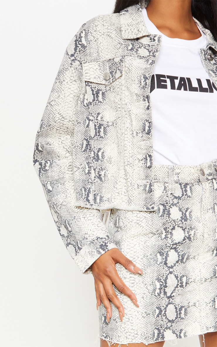 Grey Snake Print Denim Jacket 5