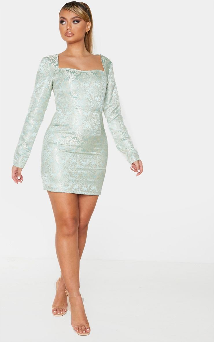 Mint Long Sleeve Jacquard Bodycon Dress 3