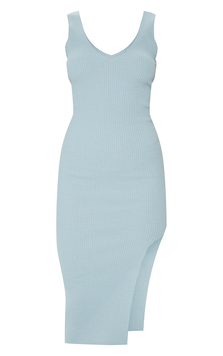 Baby Blue V Neck Side Split Knitted Midi Dress 5