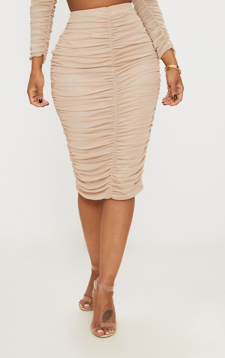 Shape Nude Mesh Ruched Midi Skirt 2