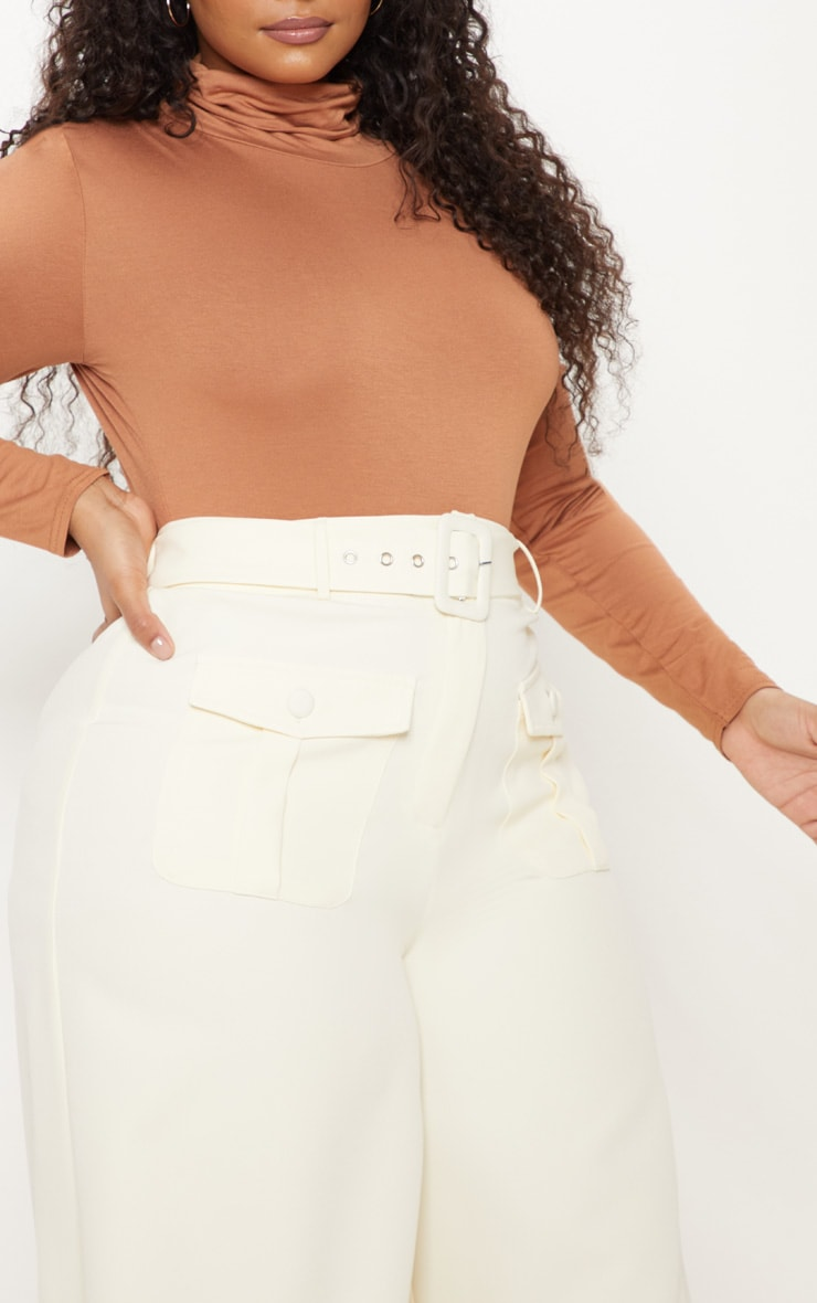 Plus Cream Pocket Detail Belted Culottes 5