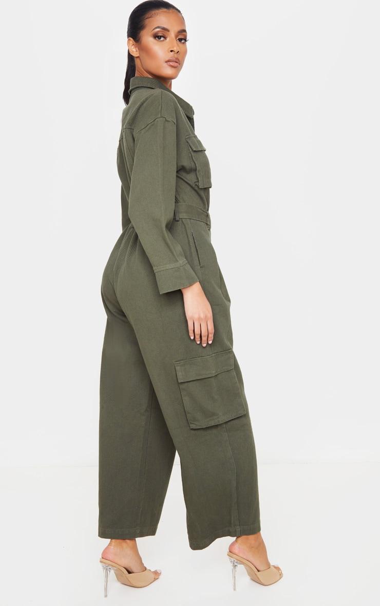 Khaki Oversized Cropped Denim Boilersuit 2