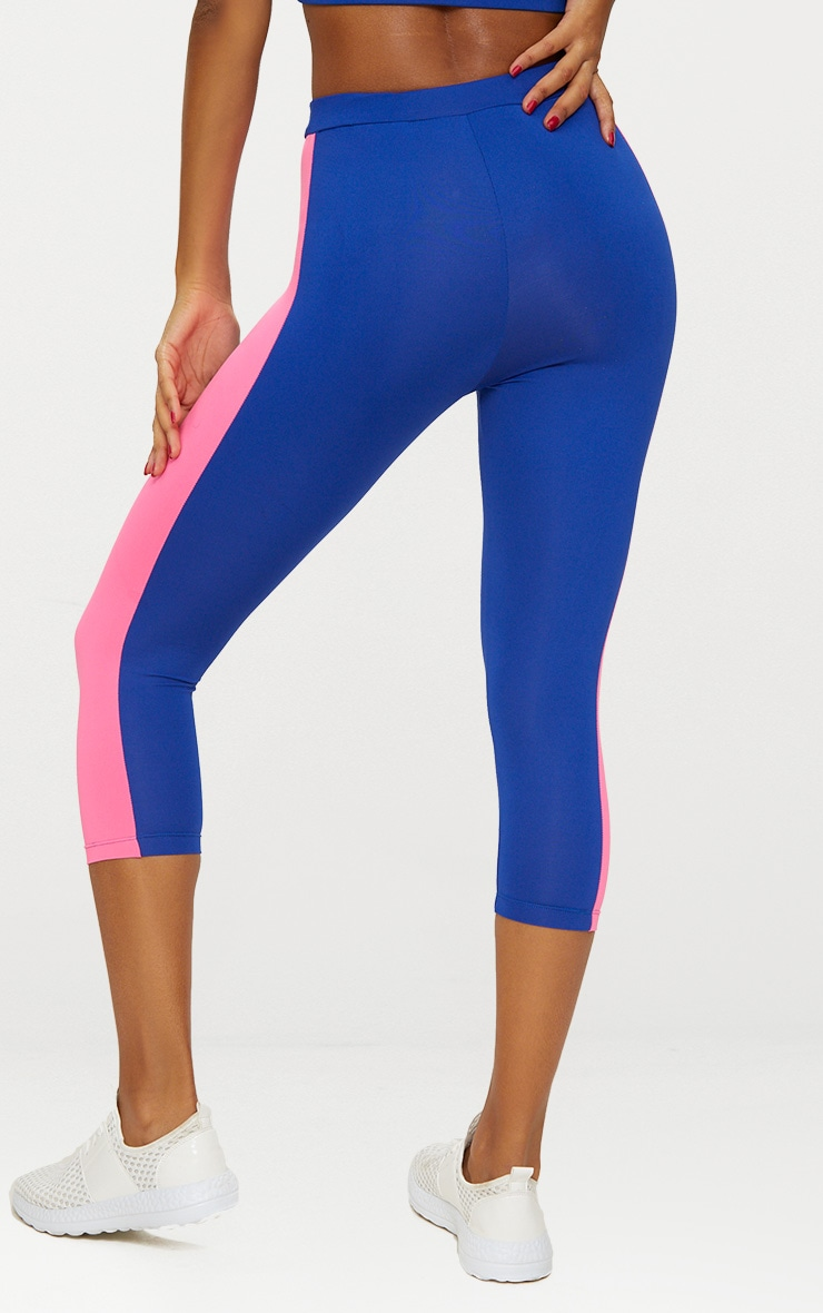 Blue Contrast Panel 3/4 Sports Leggings 5