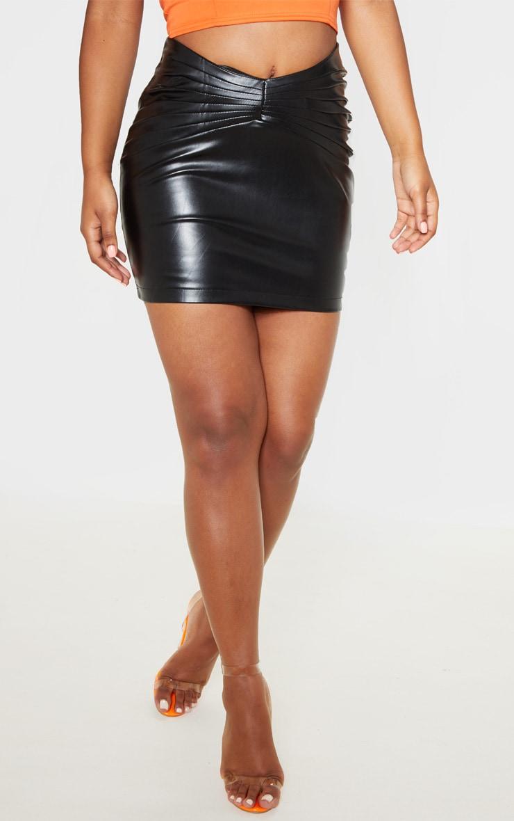 Black Faux Leather Gathered Waist Detail Mini Skirt  2