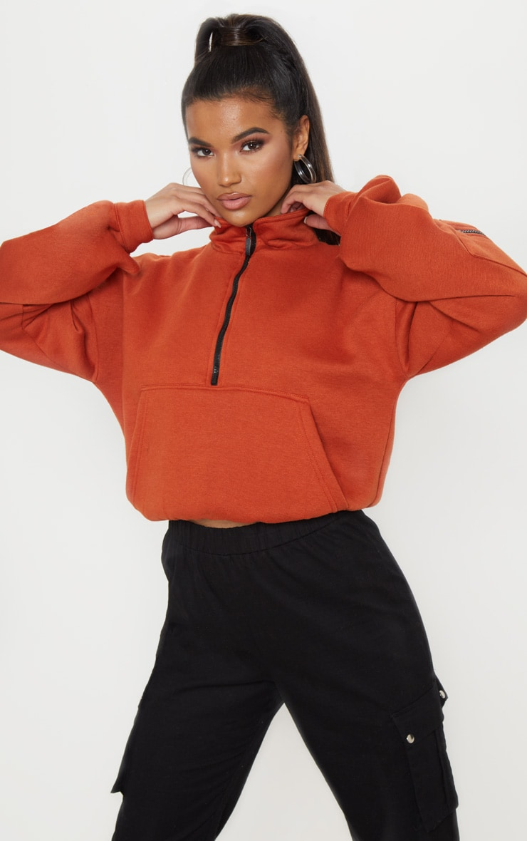 Rust Oversized Zip Front Sweater  1
