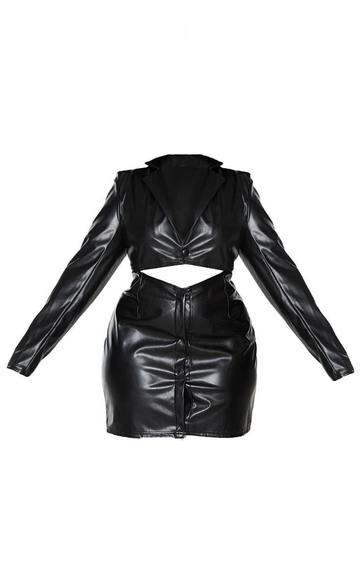 Plus Black PU Cut Out Shirt Dress 5