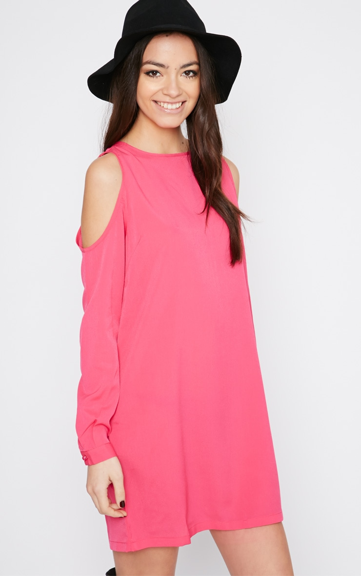 Genny Pink Cut Out Shoulder Dress 1