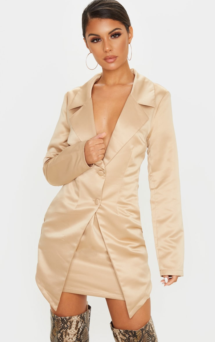Champagne Satin Button Detail Tailored Long Sleeve Blazer Dress 4
