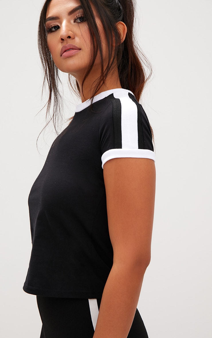 Black Triple Stripe Shoulder T Shirt  5