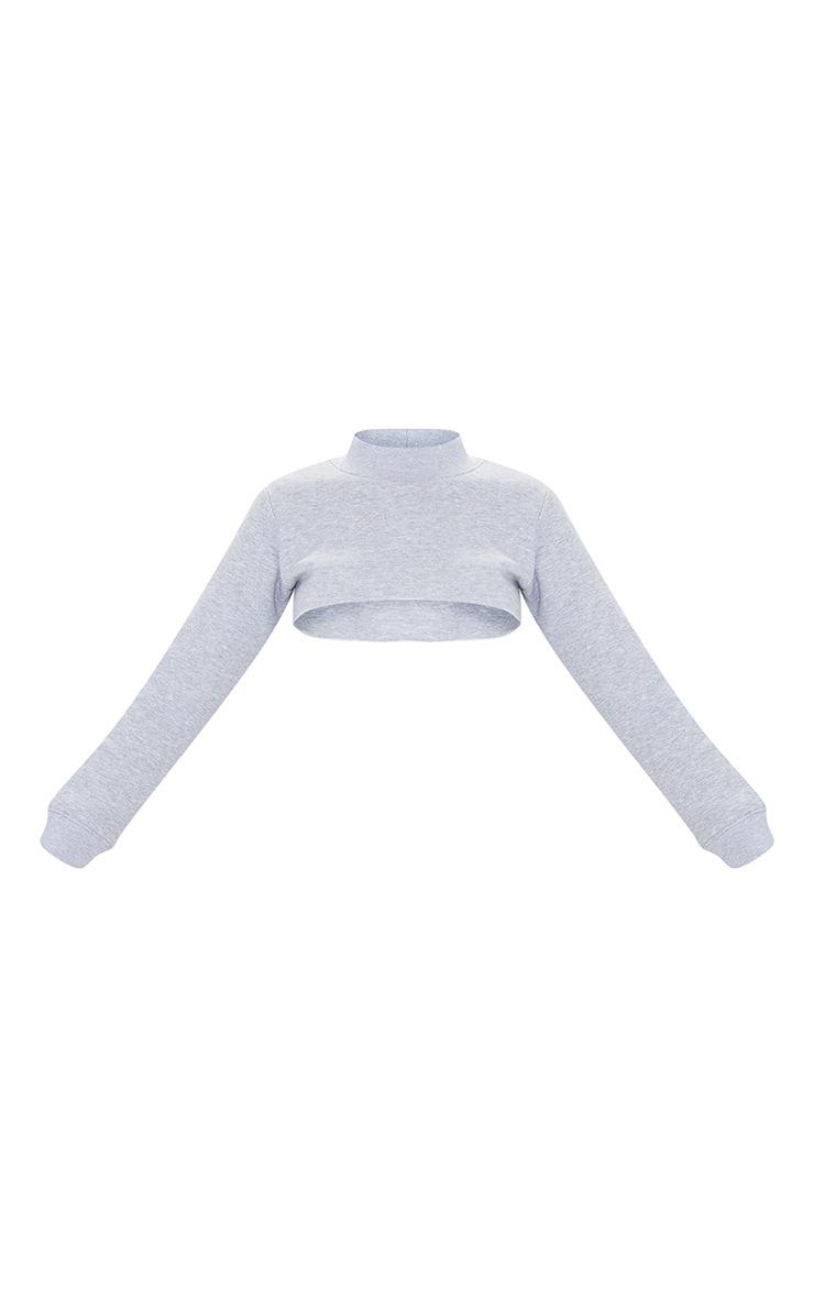 Grey Super Crop Raw Edge High Neck Sweatshirt 5