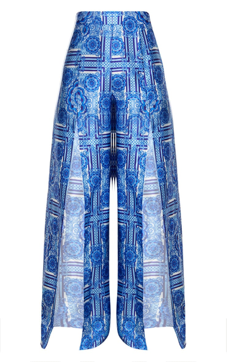 Petite Blue Printed Wide Leg Trousers 3