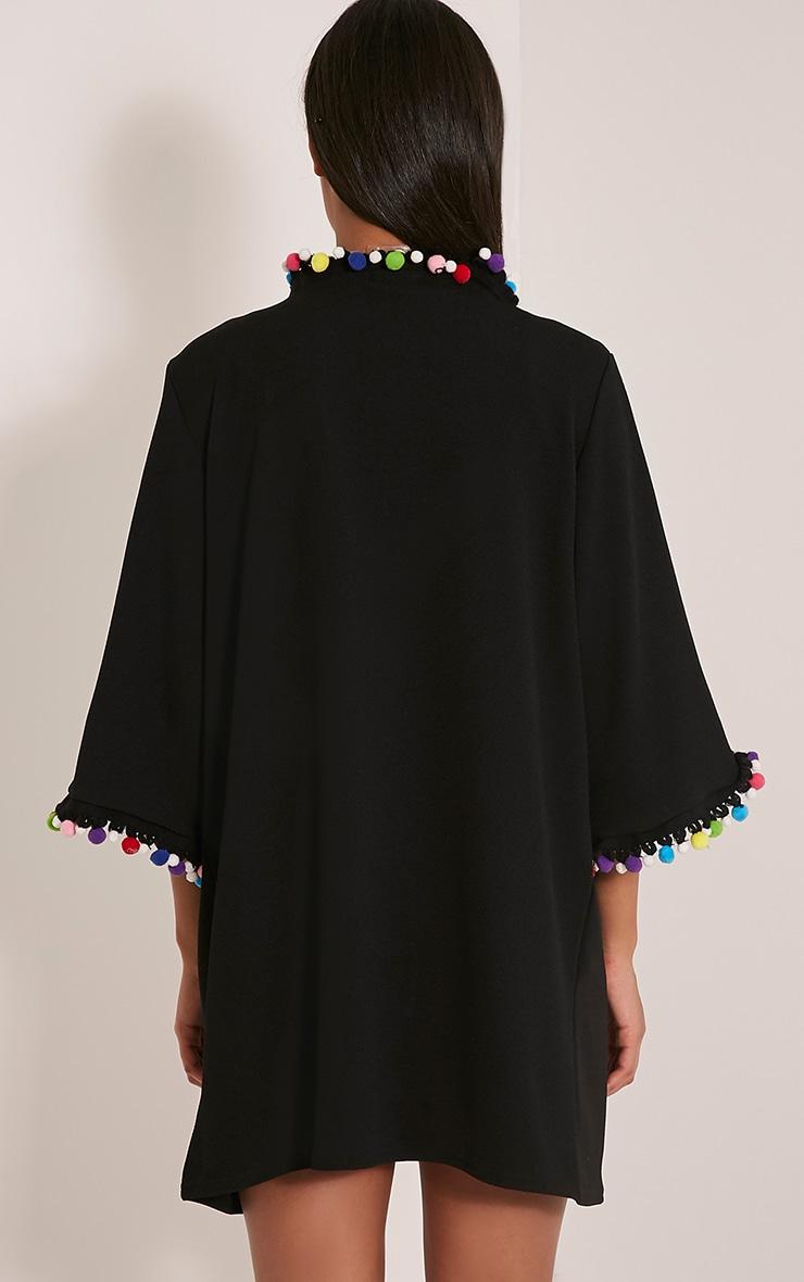Janessa Black Pom Pom Trim Kimono 2