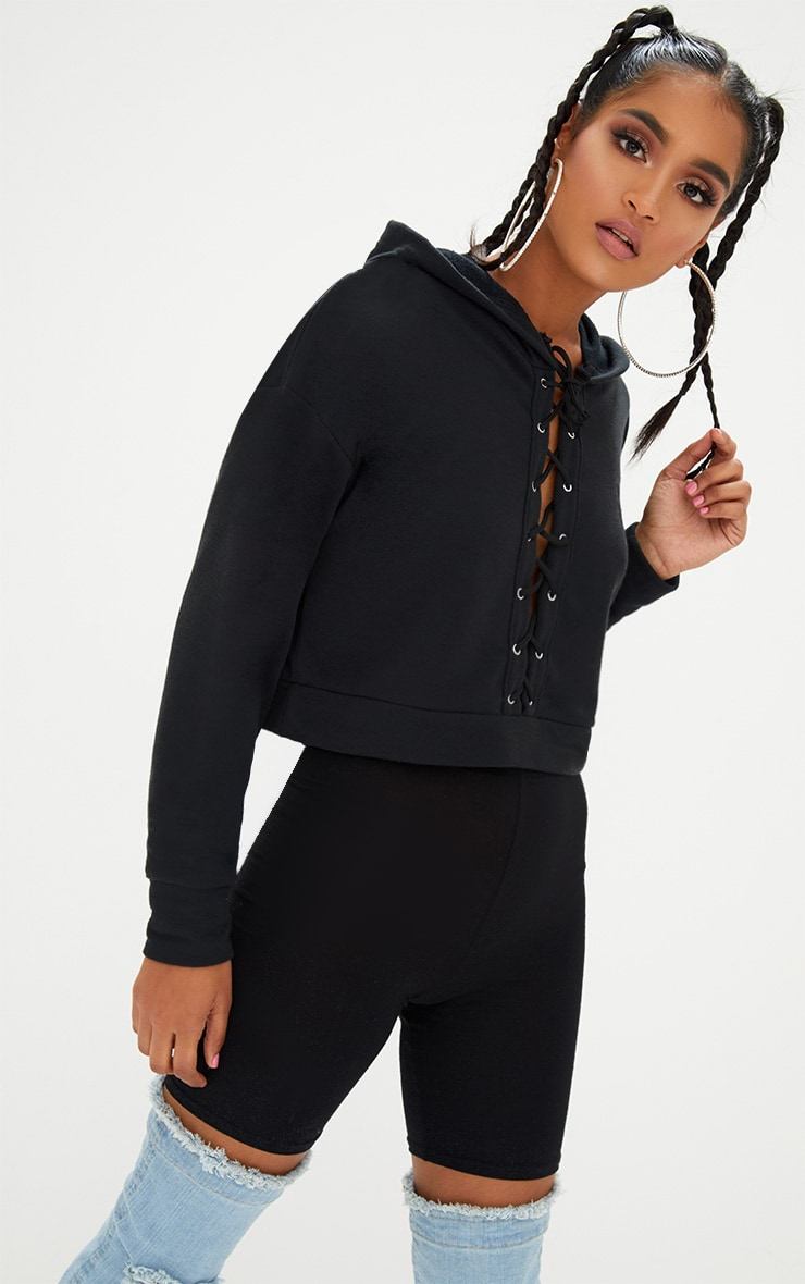 Black Lace Up Front Cropped Hoodie  1