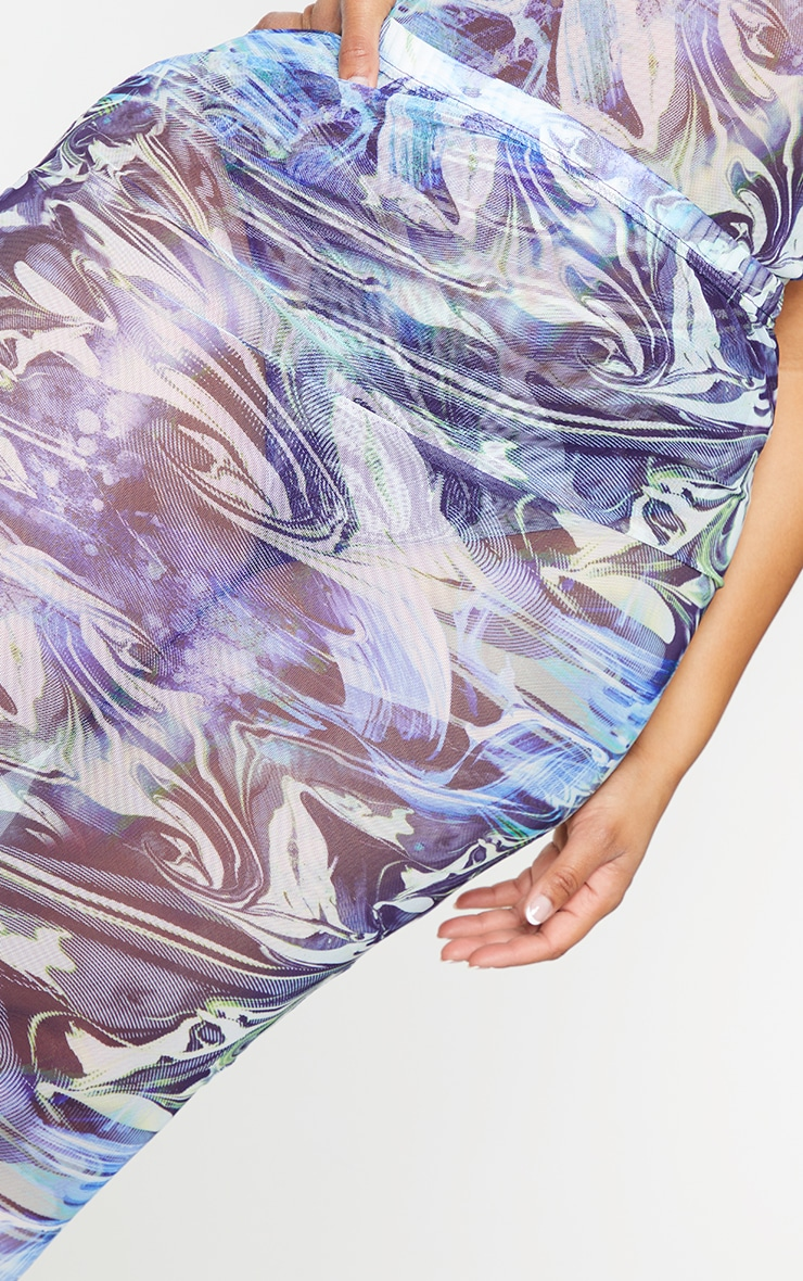 Plus Blue Marble Print Mesh Bodycon Midi Skirt 4