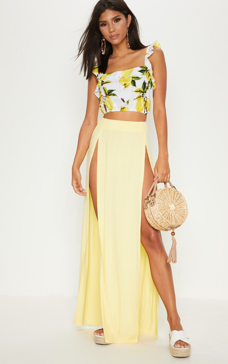 Lemon Double Split Maxi Skirt