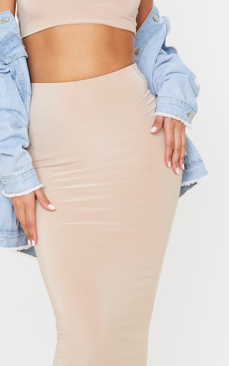 Stone Second Skin Slinky Longline Midaxi Skirt  5