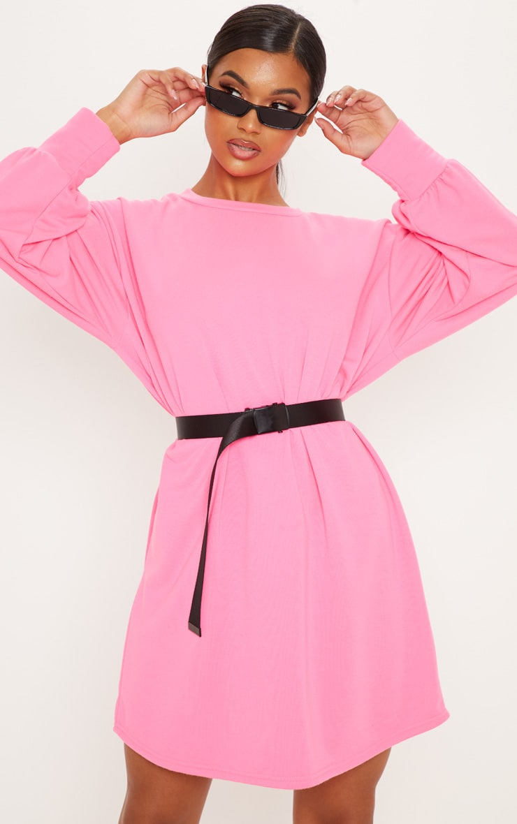 ee28454d000 Neon Pink Oversized Jumper Dress image 1
