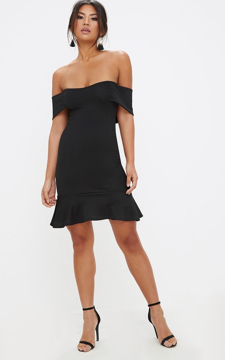 Black Bardot Frill Hem Bodycon Dress 4