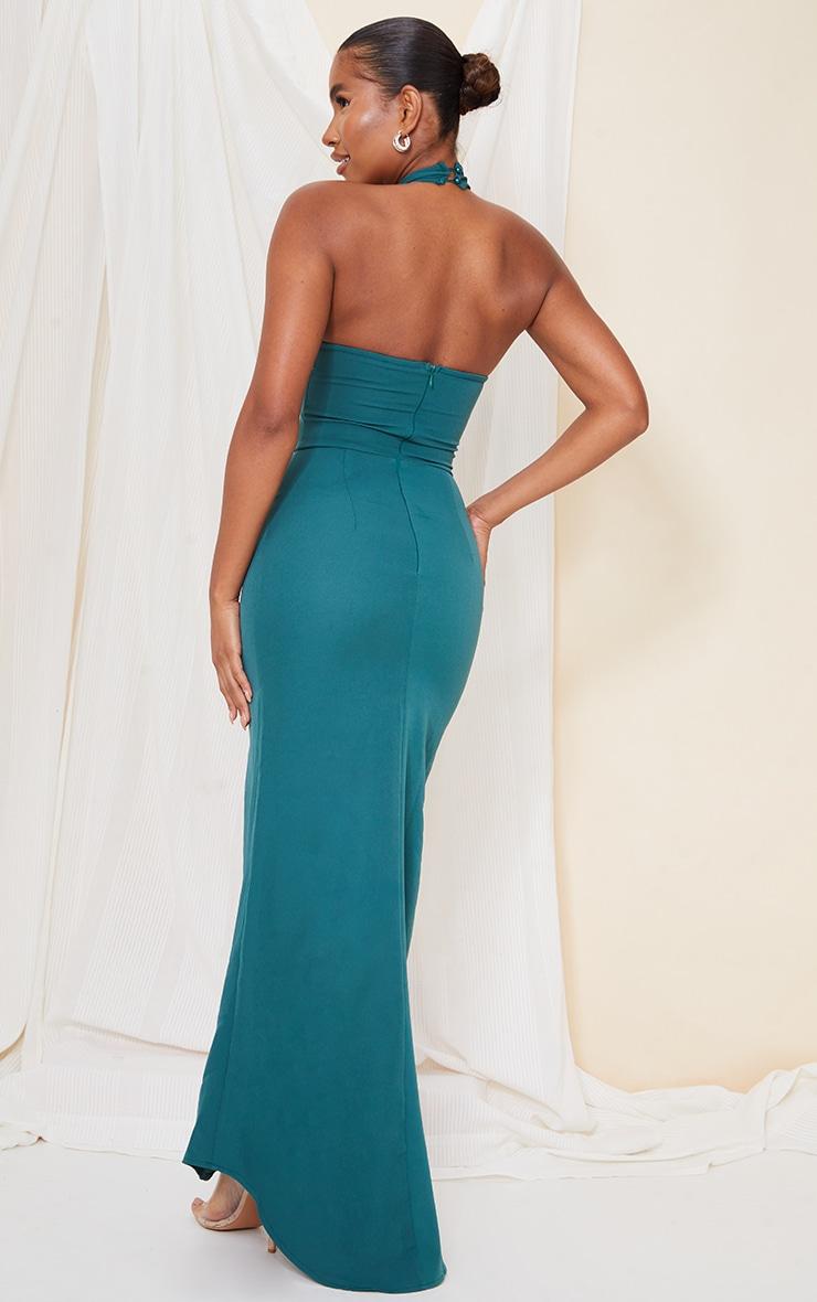 Emerald Green Bridesmaid Corset Detail Cross Front Maxi Dress 2
