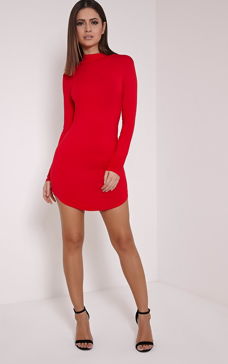 Alby robe col montant rouge à ourlet arrondi 4