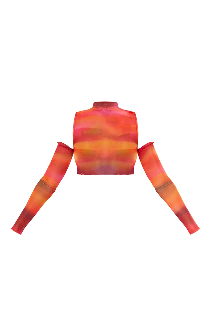 Hot Pink Ombre Print Mesh High Neck Cut Out Long Sleeve Crop Top 6