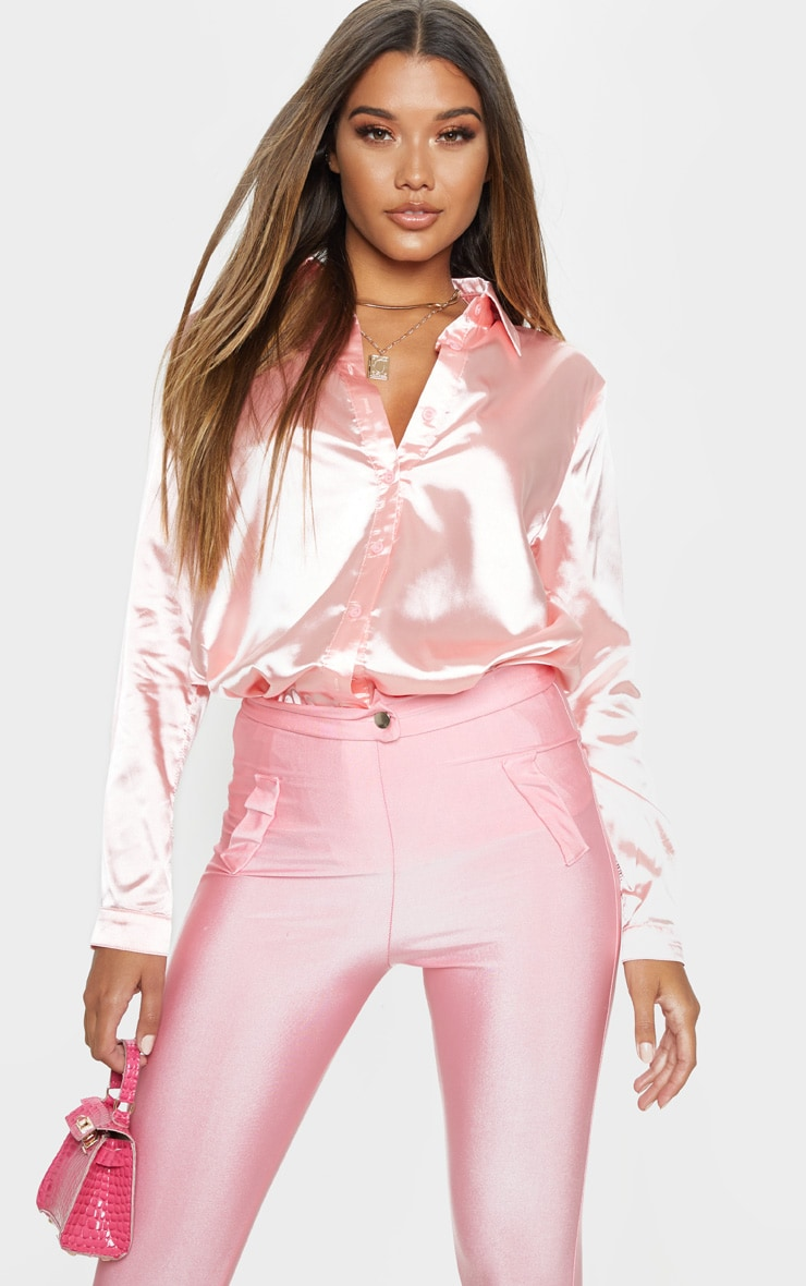 Pink Oversized Satin Shirt 1