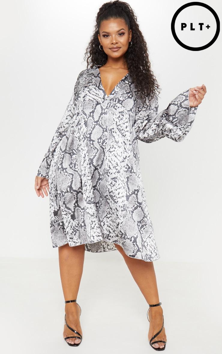 Plus Grey Snake Print Swing Midi Dress
