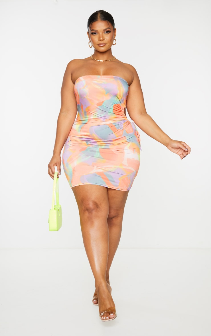 Plus Multi Abstract Print Cut Out Detail Bodycon Dress 1