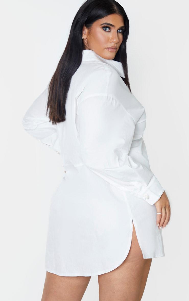 Plus White Pearl Button Oversized Shirt Dress 2