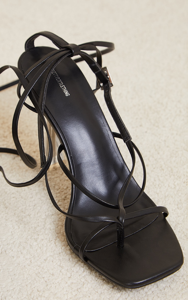 Black Pu Toe Thong Strappy Lace Up Clear High Heels 4