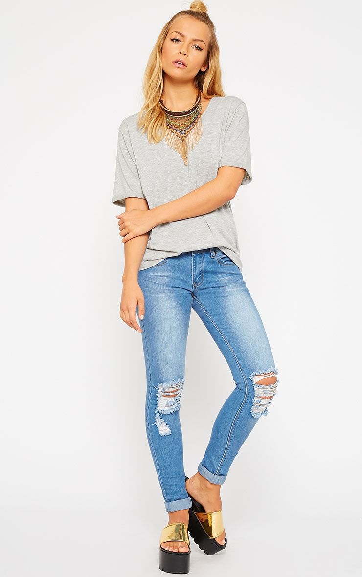 Basic Grey V-Neck Roll Sleeve T-Shirt 3