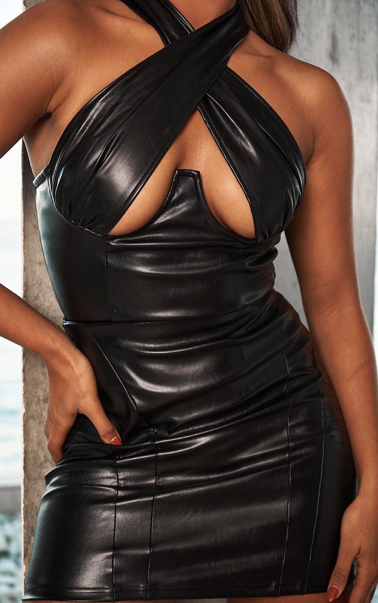 Black Faux Leather Cross Over Underbust Zip Top 1