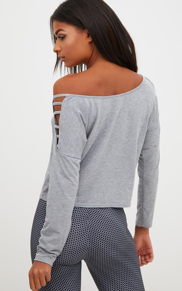 Grey Marl Jersey Off The Shoulder T Shirt 2